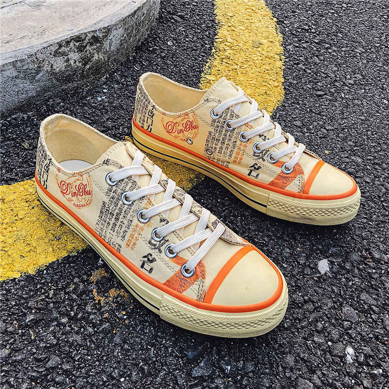 2019 г. Новая Стильная летняя мужская обувь дышащая обувь из тонкой ткани Мужская модная обувь парусиновая обувь для катания на коньках корейский стиль, крутые граффити M