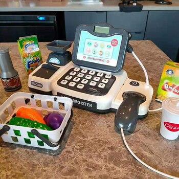Vegetables Fruits Supermarket Counter Simulation Gifts Checkout Shop Pretend Play Cash Register Toy Parents Children Cashier