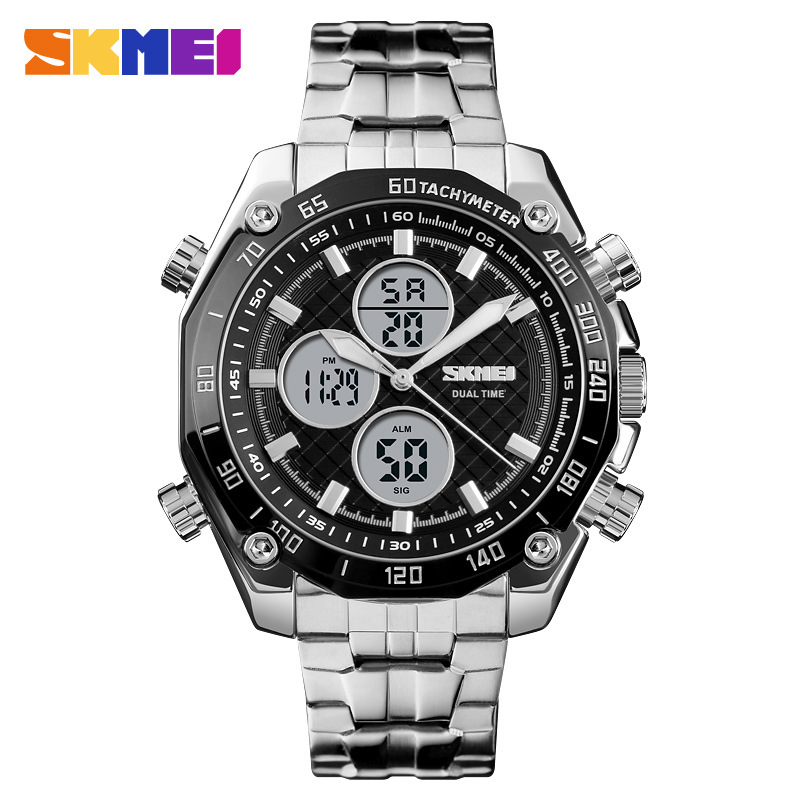 <font><b>Skmei</b></font> <font><b>1302</b></font> Fashion Large Dial Multi-functional Dual Display Outdoor Steel Belt Watch image