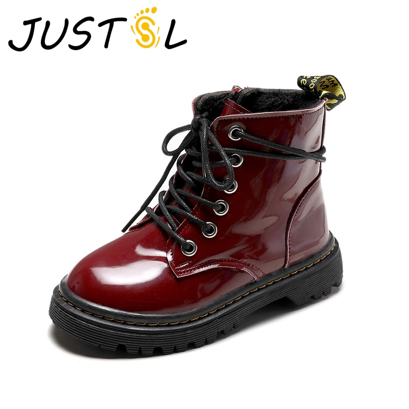 JUSTSL Autumn Winter Children's Wild Boots Boys Girls Lacquered Leather Boots Student Kids Casual Keep Warm Boots Size 26-36