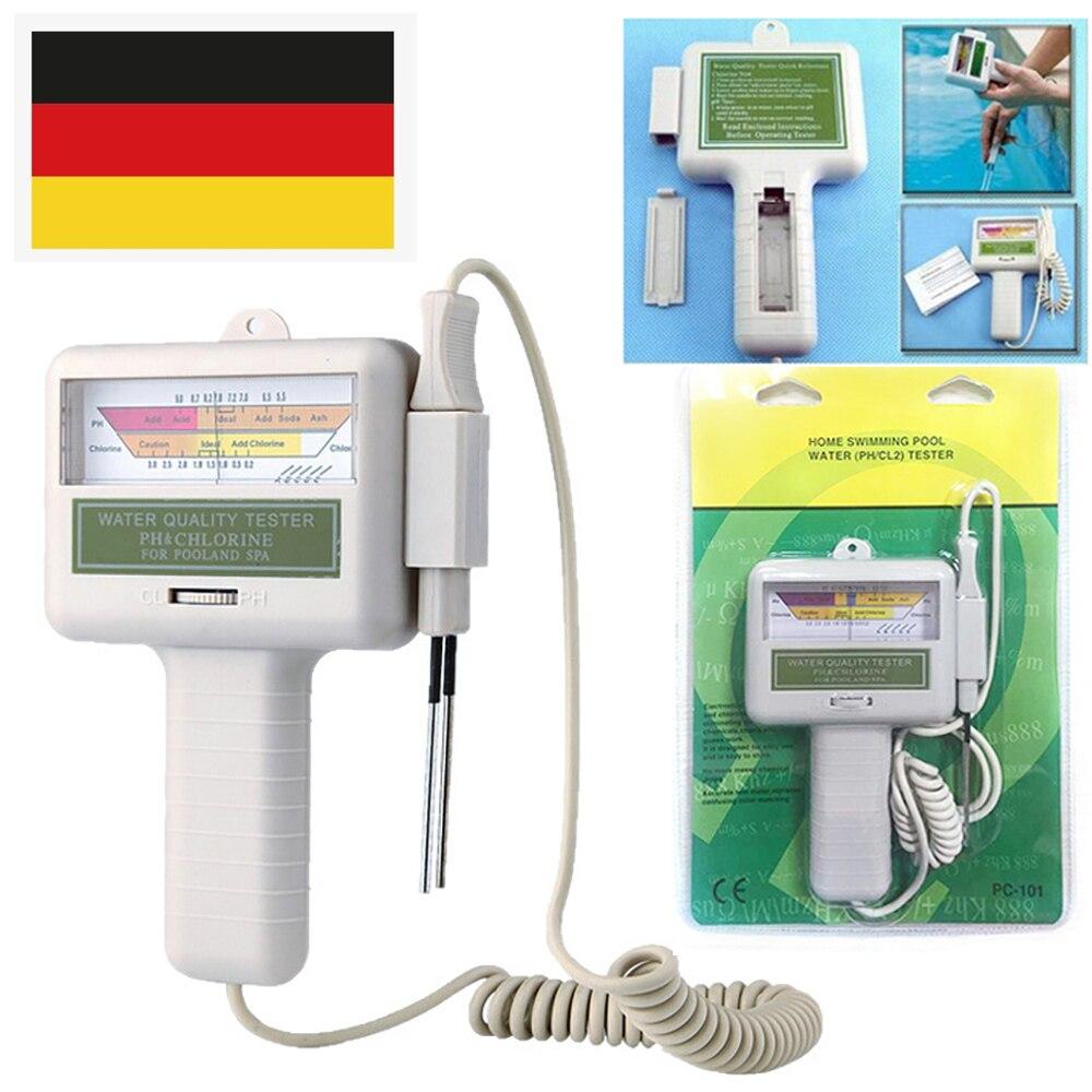 1Pcs PH Chlorine Tester CL2 Aquarium Water Quality Checker Portable Home Swimming Pool Spa PH Test Monitor Meter White New