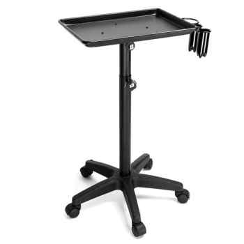 L-121B Beauty Salon Aluminum Tray Cart Beauty Stool Aluminum Tray & PP Castor & Iron Support Bar Black