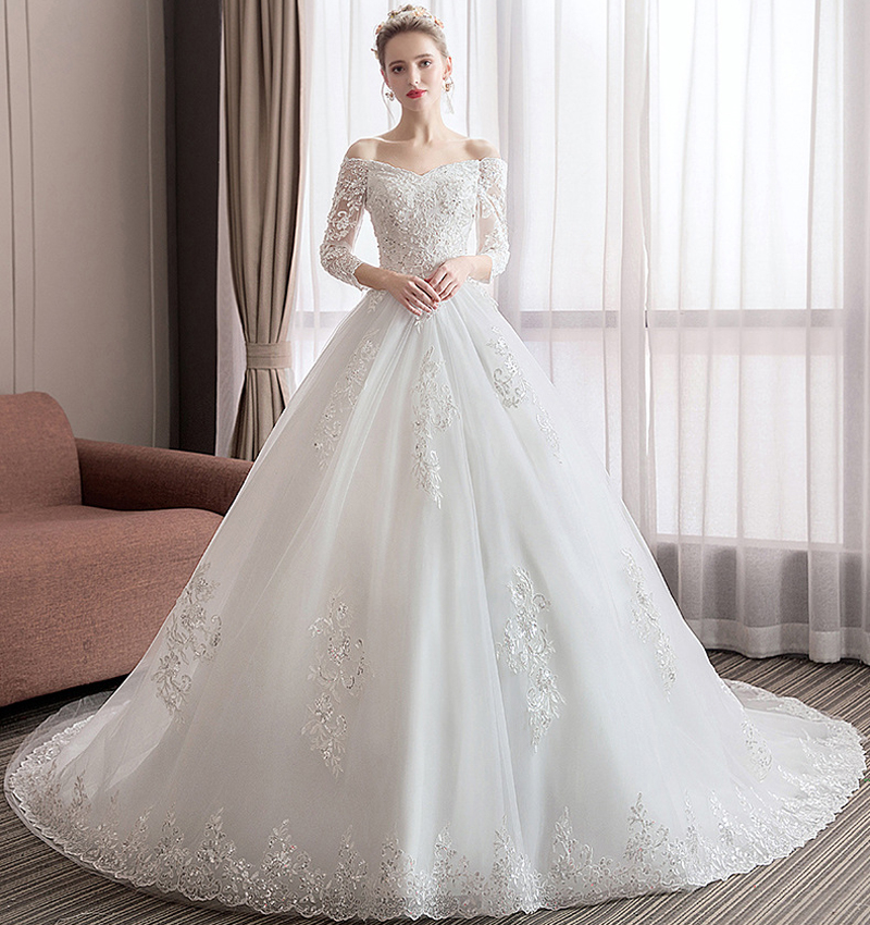 Boat Neck Three Quarter Sleeve Princess Wedding Dress 2019 Luxury Long Train Lace Women Wedding Dress Mariage Celebrity Dress