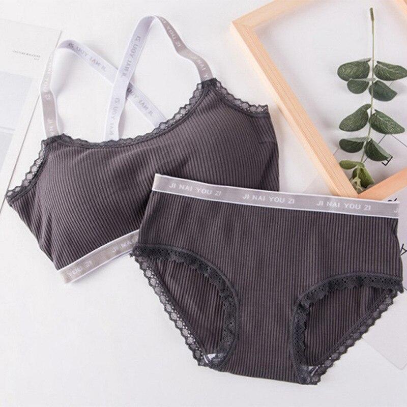 Letter Print Underwear   Set   Women Comfortable Wireless Lingerie   Bra     Set   Rk
