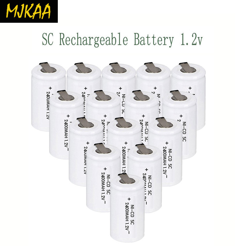 MJKAA <font><b>12</b></font>/15Pcs SC 1.2V 2400mAh Ni-CD Rechargeable Battery 4/<font><b>5</b></font> SC Sub C Ni-cd Cell Batteries for Electric Drill Screwdriver image