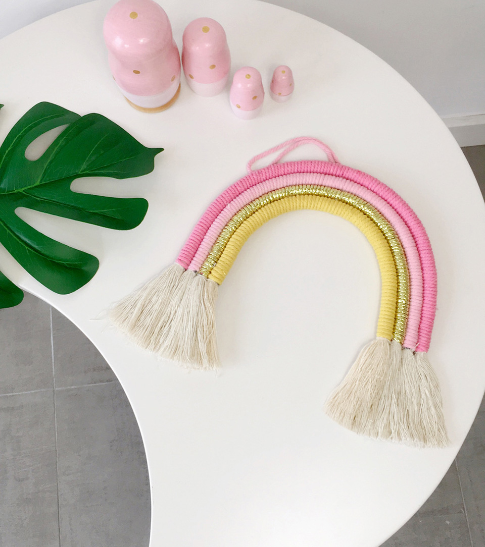 INS Baby Room Decor Handmade Rainbow Weaving Ornament Nordic Kids Room Wall Decoration Tassel Babykamer Decoratie Accessories