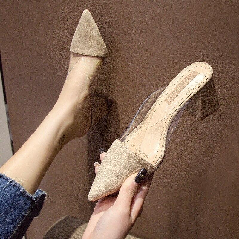 2020 printemps nouveau bout pointu chaussures femmes pompe pantoufles mode talon bas Mules Transparent été en plein air chaussures décontractées noir Beige