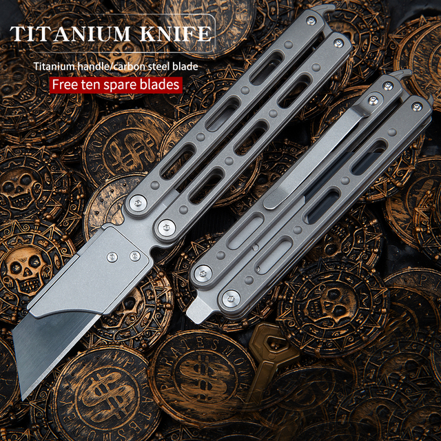 Titanium Utility Knife Multifunctional Outdoor Portable Tool Paper Cutter EDC Folding Knife CLAMP HAND TOOL Crowbar Corkscrew 5