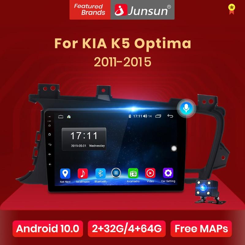 Автомагнитола Junsun V1 для Kia, мультимедийная стерео-система на Android 10,0, с голосовым управлением, 4G, GPS, dvd, для Kia K5 Optima 2011-2015, типоразмер 2 din