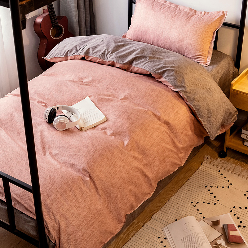 Denim Quilt Cover College Students Dormitory Beddings Three-Piece Set Girl Heart Single Bedding Set Beddings Full