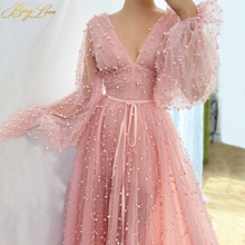 цена на Charming Pearls Evening Dress Pink Long Sleeves Sexy V Neck Plunging Evening Gown Luxury Formal Puffy Sleeves New Prom Dress