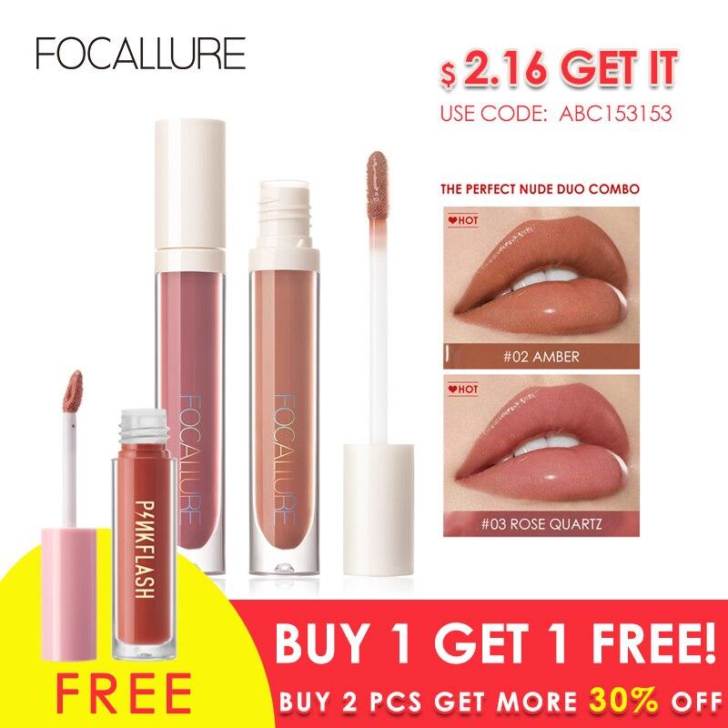 FOCALLURE PLUMPMAX Nourise Lip Glow High Shine&Shimmer Glossy Lips Makeup Non Sticky Plumping Lip Gloss 1