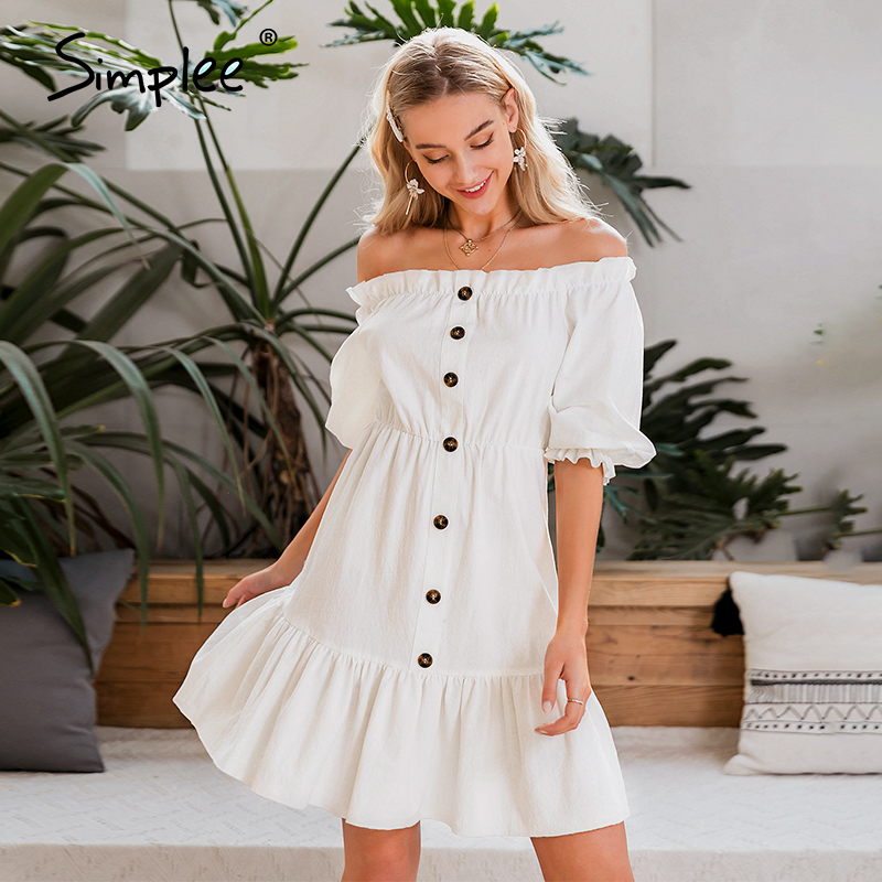 Simplee Off Shoulder Women Dress Sexy Ruffled Single Breasted High Waist Summer Dress Lantern Contton Work Wear Office Dress