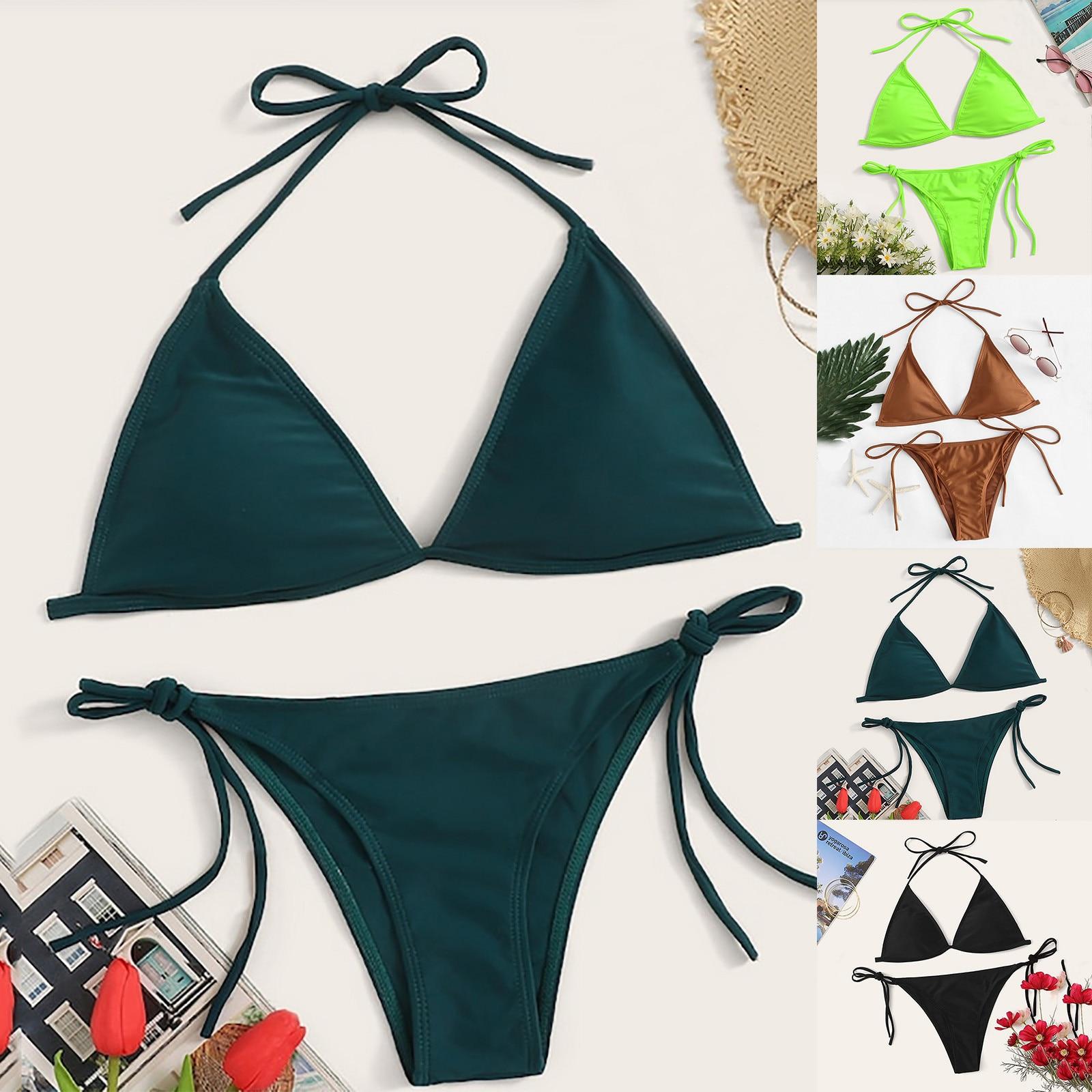 Ladies Sexy Solid Color Split Bikini Swimsuit 2021 Female Swimsuit Women Swimwear Two-piece Bathing Suit Swim Black Khaki Green