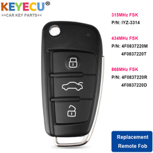 KEYECU Flip Remote Auto Schlüssel für Audi A6 S6 Q7 2004 2015, fob 3 Taste 8E Chip   IYZ 3314 / 4F0837220R / 4F0837220M/ 4F0837220T