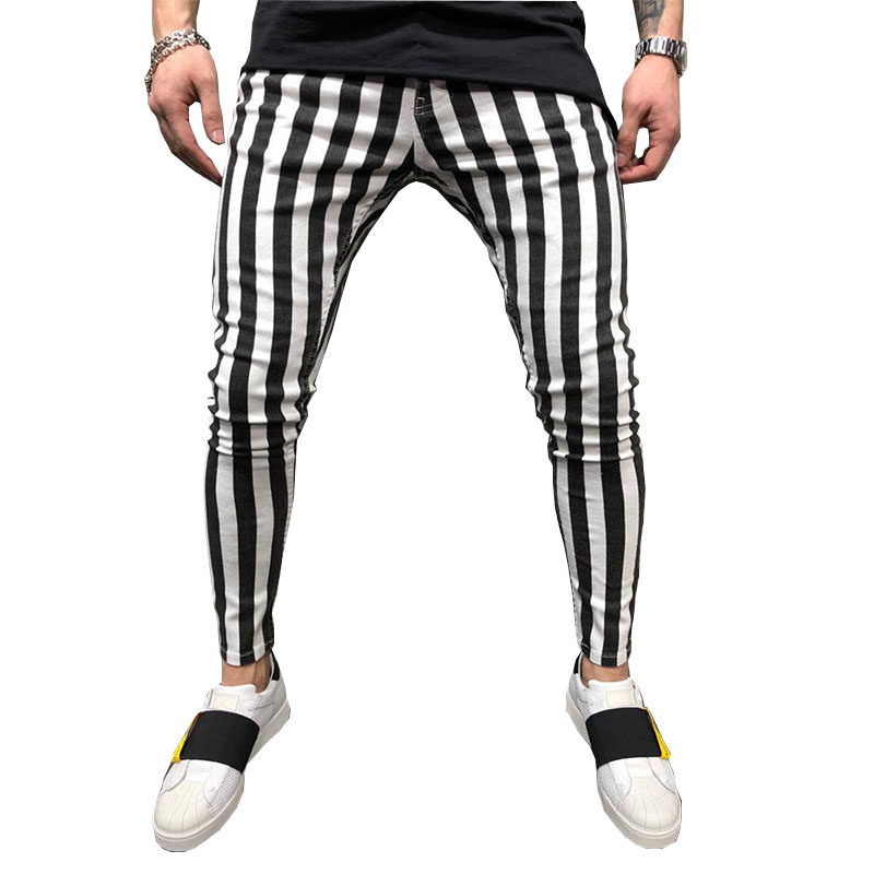 2020 Black And White Stripes Mens Joggers Casual Pants Fitness Men Sportswear Tracksuit Bottoms Skinny Sweatpants Trousers