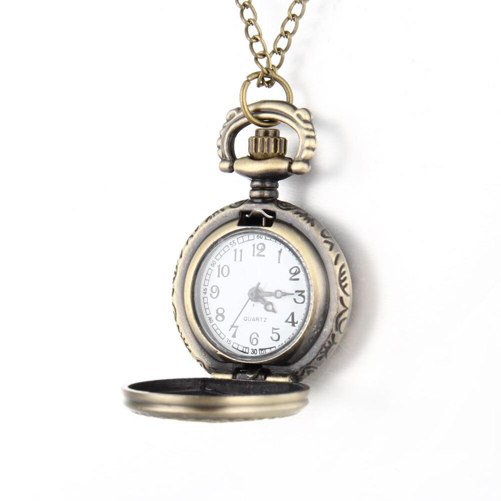 Newly Men Pocket Watch Retro Bronze Tone Round Shape Spider Web Pattern Watches With Chain Necklace M99
