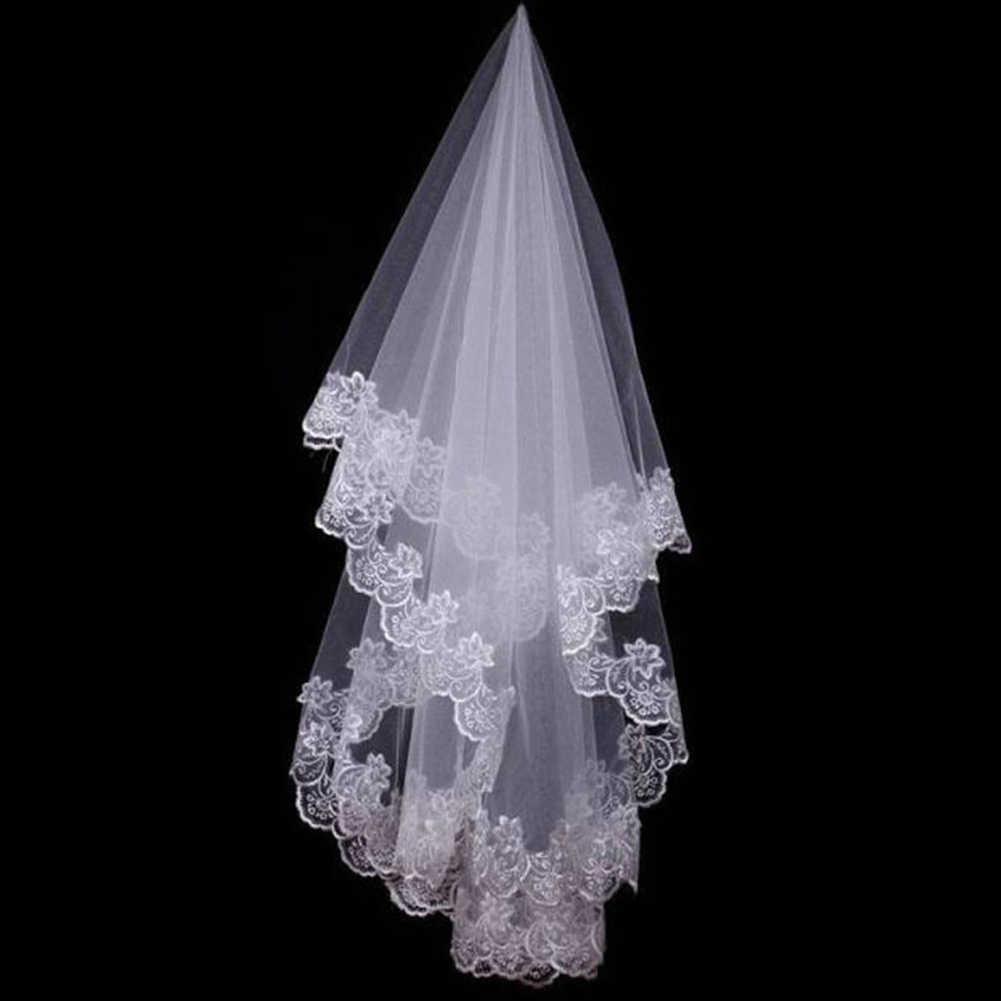 Heißer Hochzeit Zubehör Kurze Hochzeit Schleier Weiß Elfenbein Eine Schicht Braut Schleier Appliques Spitze Rand Kein Kamm Ursprünglich
