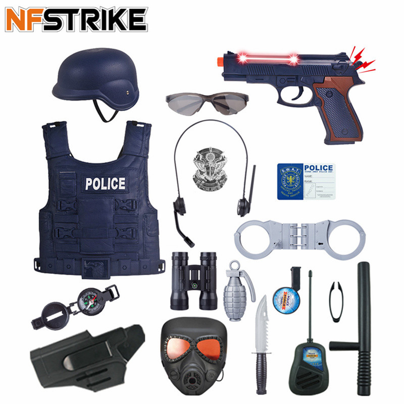 6pcs/13pcs/18Pcs Children Pretend Play Police Officer Props Police Role Play Kit Cop Toy Set Police Officer Costume Play Game