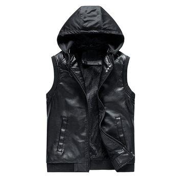 2019 New Slim Hooded Gilet Homme Hiver Fashion Good Quality Leather Vest
