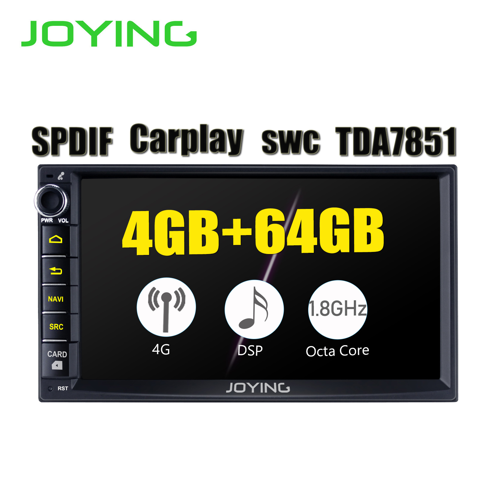 7 Head Unit 2 Din Android 8.1 Universal Car Radio Stereo Multimedia No DVD Player Built in DSP Carplay Android Auto image