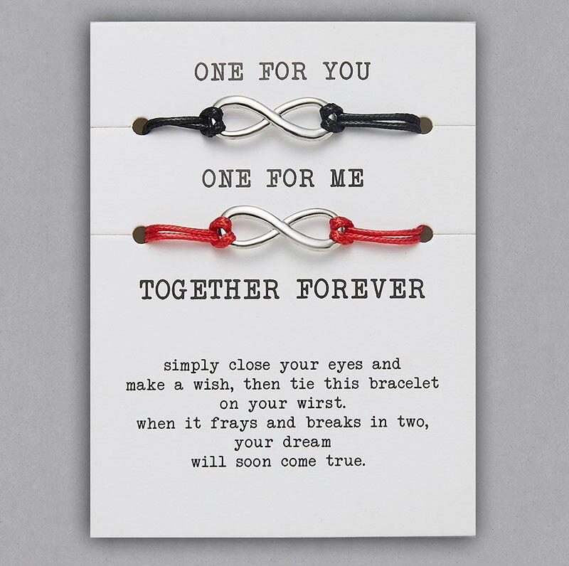 2 шт./компл. Сердце Звезда браслеты с крестообразной подвеской один для вас один для меня красная веревка плетение пара браслет для мужчин женщин карточка пожеланий - Окраска металла: BR18Y0710-1