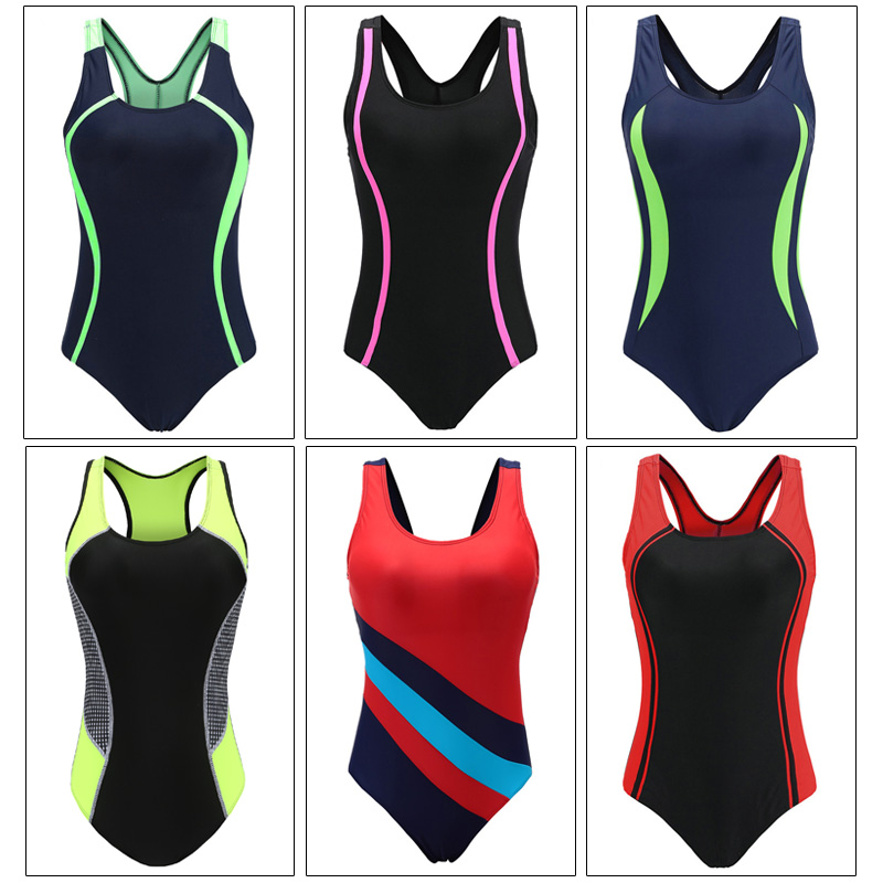Image 4 - Riseado Swimming Suits for Women Competitive Swimwear Women One Piece Swimsuit 2020 Patchwork Racer Back Bathing Suits    -