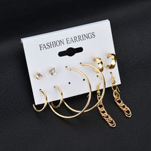 5 Set Korean Circle Earrings Long Chain Earrings Trendy Ear Ring Combination Special Circle Big Statement Long Earrings Silver(China)