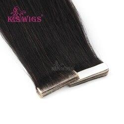 K.S парики 16 20 24 Remy, завязанные вручную ленты, искусственная кожа, уток волос, прямые, двойные, нарисованные, невидимые, бесшовные, клейкие во...