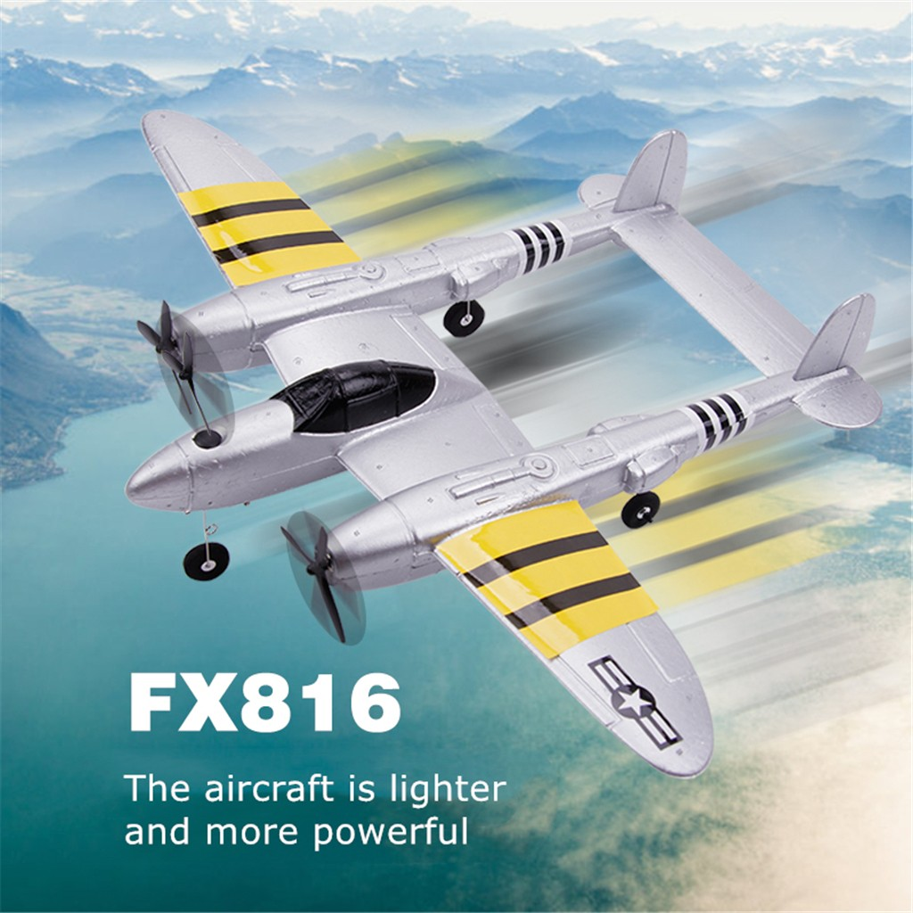 Collectible Airplane Models FX-816 P38 2.4GHz Wingspan RC Fighter Simulation Aircraft Airplane Model Toy Y923