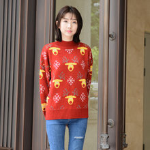 Winter Fall Women Pullover Red Sweater Korea Style Turtle Neck Knitting Deer Slim Fit Christmas Holiday Female Casual Sweater(China)