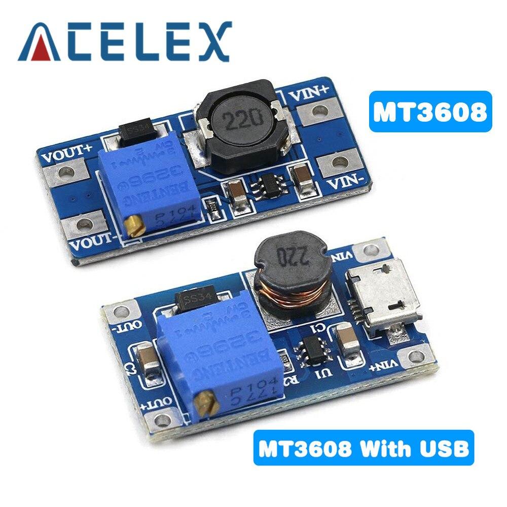 DC-DC регулируемый Повышающий Модуль 2A повышение пластина Step Up Модуль с MICRO USB 2V-24V 5V 9V 12V 28V MT3608 модуль
