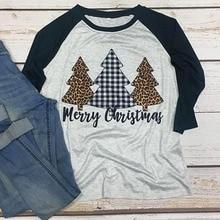 Merry Christmas Shirt Trees Print Holiday Tshirts Long Sleeve Women Plus Size Print Tee Gothic 90s Graphic Top Thanksgiving