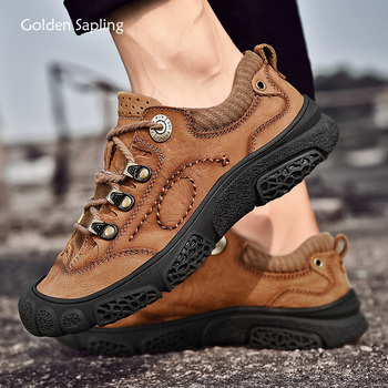 Golden Sapling Genuine Leather Tactical Shoes Men Breathable Outdoor Trekking Boots Plus Size Men's Sneakers for Mountain Hiking
