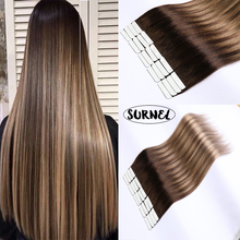 SURNEL Tape In Human Hair Balayage Ombre Tape In Double Drawn Straight Remy Human Hair Tape in Hair Extensions Skin Weft
