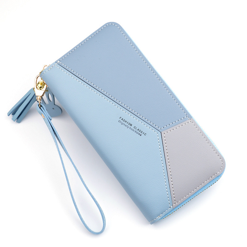 Geometric Tassel Women Wallets With Zipper Pink Phone Pocket Purse Card Holder Patchwork Women Long Wallet Lady Short Coin Purse