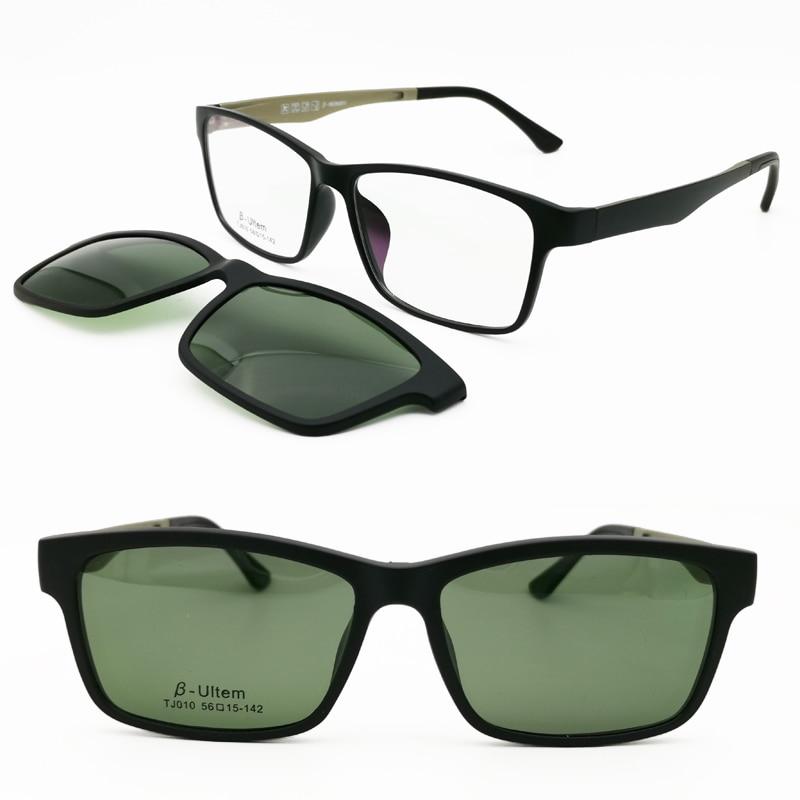 010 ULTEM rectangle optical myopia Hyperopia eyeglasses frame with megnatic clip on removable polarized sunglasses for men