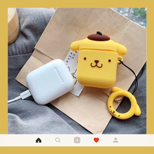 For AirPods case lovely dog puddings headphones for 2 moustache pink puppy  protection cover with Ring