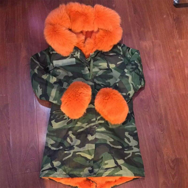 Camouflage jacket fur collar women long length orange color fox fur cuffs factory selling