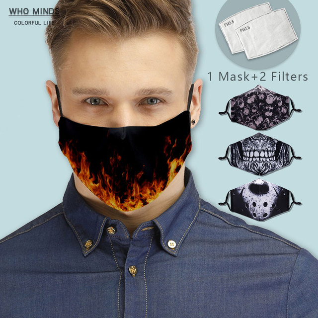 New Fire With Adjustable Straps Reusable Facemask Stylish Washable Face Mask Witch Filter Mouth Mask Black Windproof Mask