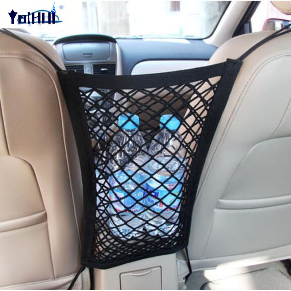 Strong Elastic Car Mesh Net Bag Between Car Organizer Seat Back Storage Bag Luggage Holder Pocket for Car Styling image