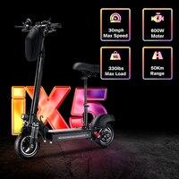 Patinete eléctrico todoterreno de 10 pulgadas, Scooter plegable para adulto de 2021 W y 45 KM/H, 600