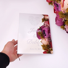 Personalized Acrylic Mirror White Blank Custom Wedding Signature Guestbook with Heart Guest Check in Book Party Decor Favor