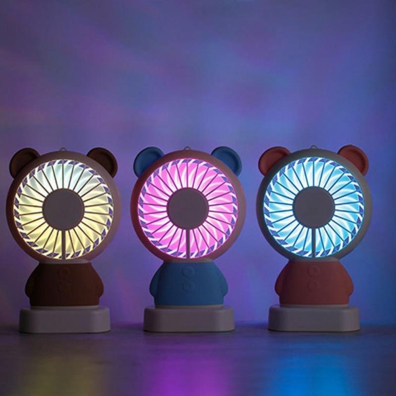 800mA USB Charing Portable Cartoon Mini Fan Night Light Bear Rabbit Thin Handheld Fan For Student