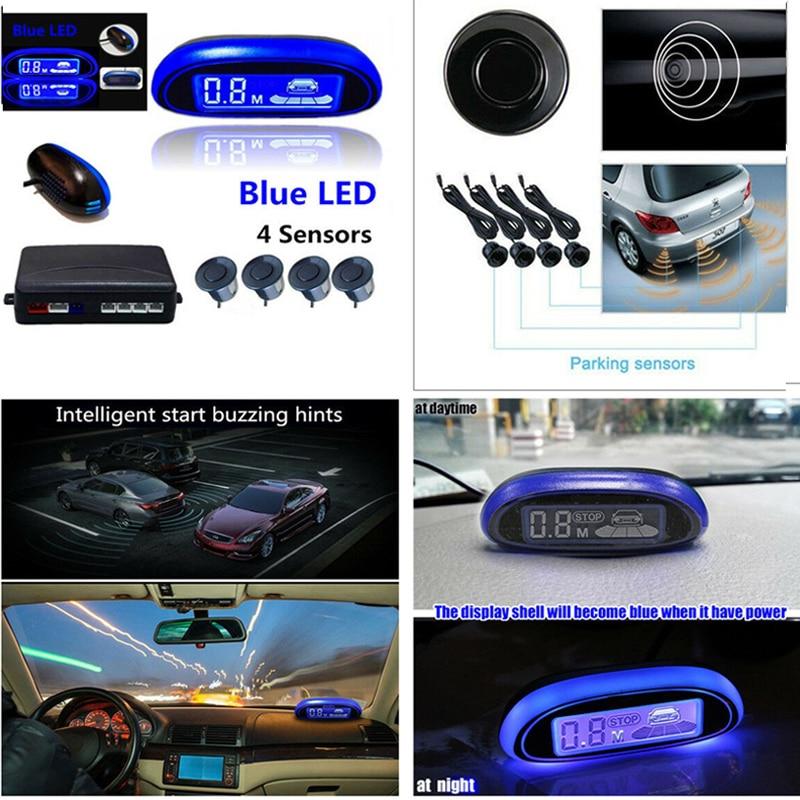 4 Parking Sensors LED Display Car Rear Reverse Backup Radar Blue Screen System