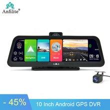"""Anfilite câmera de ré de carro 10 """", 4g, dvr, gps, fhd 1080p, android 8.1, navegação, vídeo do carro adas gravador de lente dupla com visão noturna"""