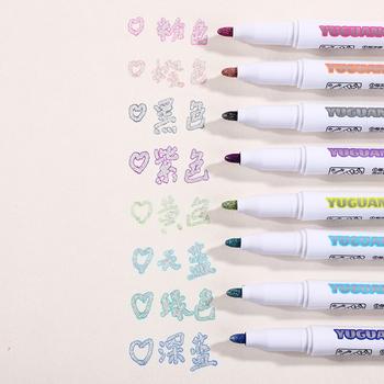 8 sztuk zestaw kolorowe podwójne linii długopis wyróżnienia fluorescencyjne Marker cukierki kolor uczeń Multicolor ręcznie uwaga pióro do szkoły plakat tanie i dobre opinie hopk CN (pochodzenie) Okrągły nosek Normalne 8 kolory box Biuro i szkoła markery DM-860