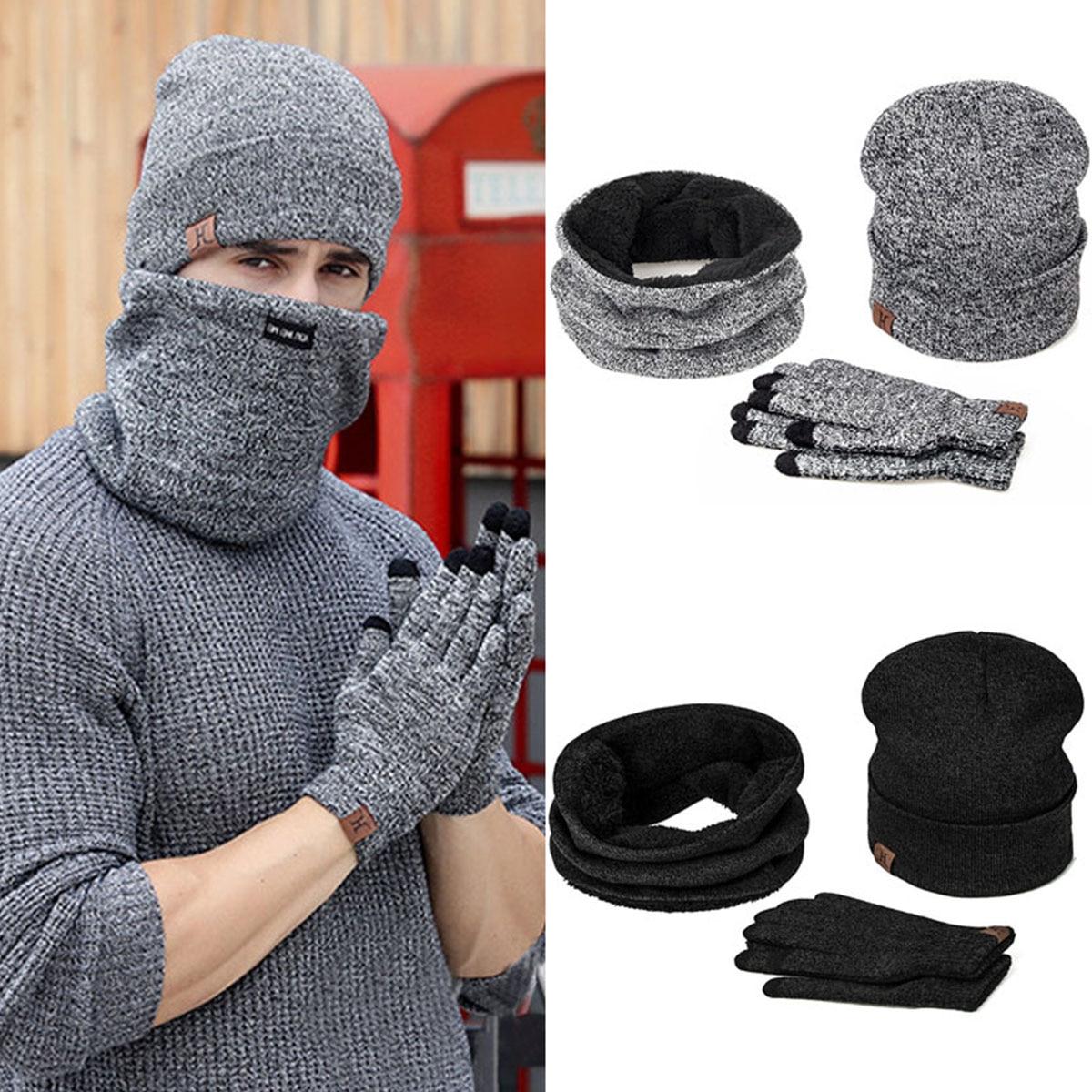 Iwinter Winter Beanie Hat For Men Women Hat Scarf Warm Scarf Hat Gloves Set Male Female Hat Scarf Set 3 Pcs Skullies Beanies