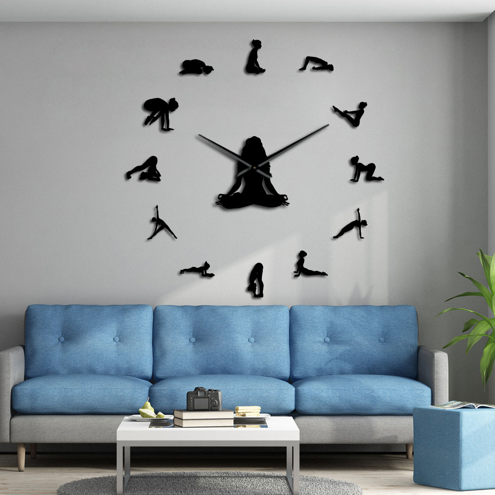 Yoga Poses DIY Giant Wall Clock Find Your Balance Meditation Wall Art Home Dcor Modern Large Wall Clock Watch Mindfulness Gift