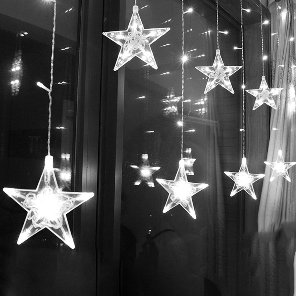 2.5M Curtain Light LED Star Christmas Garland 220V EU Outdoor/Indoor lighting String Fairy Lamp Wedding Holiday Party Decoration